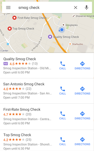 Google AdWords Local Search Listings in Mobile App
