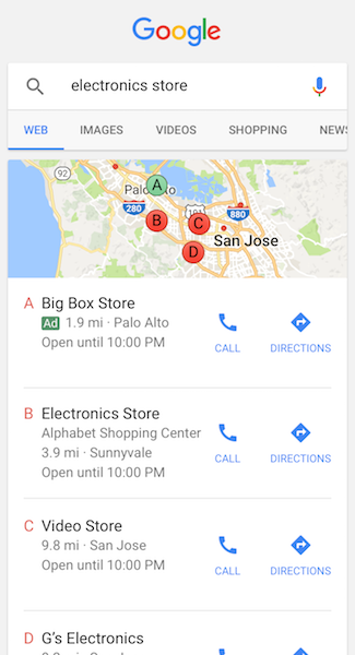 Google AdWords Local Search Listings in Mobile Browser